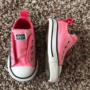 Converse Bright Pink Velcro Shoes Size 4